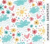 i love spring. seamless pattern ...   Shutterstock .eps vector #1669659214