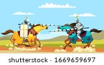 Two Armed Knights Galloping On...