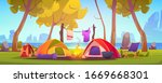 summer camp with tent  campfire ... | Shutterstock .eps vector #1669668301