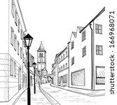 european downtown landscape.... | Shutterstock .eps vector #166968071