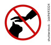 do not touch the cat silhouette ... | Shutterstock .eps vector #1669693324
