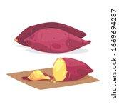 vector of grill sweet potato...   Shutterstock .eps vector #1669694287