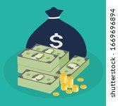 money dollars banknotes cash... | Shutterstock .eps vector #1669696894