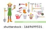 gardening set. vector cartoon... | Shutterstock .eps vector #1669699531