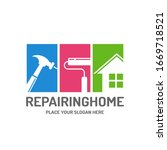 repairing home vector logo... | Shutterstock .eps vector #1669718521