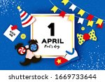 1 April Fools Day. Funny Crazy...