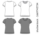 t shirt fashion flat sketch... | Shutterstock .eps vector #1669745734