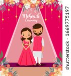cute indian couple in pink... | Shutterstock .eps vector #1669775197