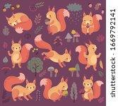 squirrel set hand drawn style.... | Shutterstock .eps vector #1669792141