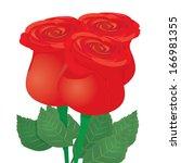 vector red rose flower... | Shutterstock .eps vector #166981355