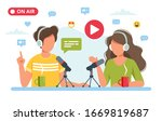 people talking to microphone...   Shutterstock .eps vector #1669819687
