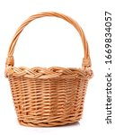 Small photo of Big wicker basket on a white background. The basket is made of vines. Handmade.