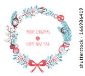 decorative christmas wreath... | Shutterstock .eps vector #166986419
