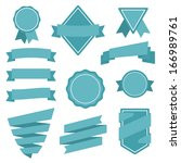 flat style vector badges and... | Shutterstock .eps vector #166989761