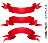 set of red ribbons for design... | Shutterstock .eps vector #166992515
