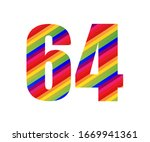 64 number rainbow style numeral ...   Shutterstock .eps vector #1669941361