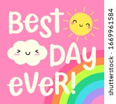 best day ever   cute cloud and... | Shutterstock .eps vector #1669961584