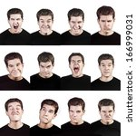 young man face expressions... | Shutterstock . vector #166999031