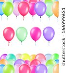 flying balloons isolated on a... | Shutterstock . vector #166999631
