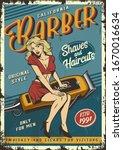 Vintage Barbershop Poster With...