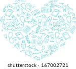 various medical icons arranged... | Shutterstock .eps vector #167002721