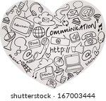 various communication internet... | Shutterstock .eps vector #167003444