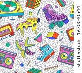 trendy 80s 90s memphis style...   Shutterstock .eps vector #1670040544