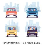 front view of cars with people...   Shutterstock .eps vector #1670061181