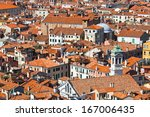 Panoramic view of Venice from San Marco bell tower, Italy - stock photo