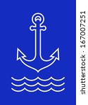 anchor and sea waves on blue... | Shutterstock .eps vector #167007251