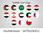 middle east arab country flags  | Shutterstock .eps vector #1670126311