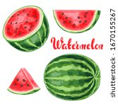 set of watermelons and slices....   Shutterstock .eps vector #1670155267