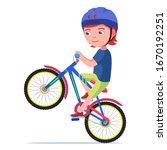 Boy Riding A Bike. Vector...