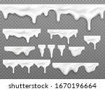realistic dripping milk drops ... | Shutterstock .eps vector #1670196664