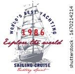 vintage sail boat vector... | Shutterstock .eps vector #1670214214