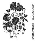 vintage flower bouquet tattoo... | Shutterstock .eps vector #1670220034