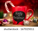 red ceramic cup with merry... | Shutterstock . vector #167025011