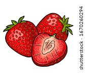whole and slice strawberry.... | Shutterstock .eps vector #1670260294