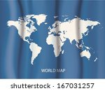 world map on wave curtain... | Shutterstock .eps vector #167031257
