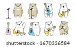 bear vector guitar polar bear... | Shutterstock .eps vector #1670336584