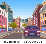 city street with car on it....   Shutterstock .eps vector #1670349391