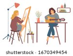 Woman At Home Vector  Hobby Of...