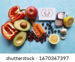 Small photo of The best foods for kidneys health. Healthy food helps boost kidney function while preventing further damage. Kidney diet or renal diet and foods for chronic kidney disease. Concept of healthy eating.