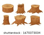 collection of tree stumps and... | Shutterstock .eps vector #1670373034