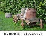 Old Wooden Barrels On Old Cart...