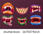 Monsters Mouths. Funny Facial...