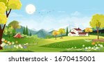 panorama landscape of spring... | Shutterstock .eps vector #1670415001