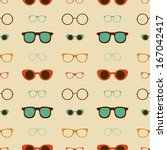 Hipster Glasses Vector Seamless Pattern, Illustration Background