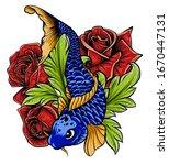 Hand Drawn Koi Fish With Flowe...