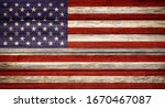 United states flag wooden plank ...
